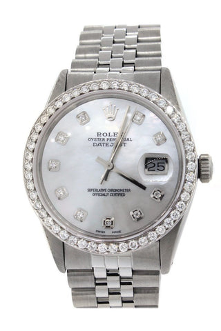 Rolex Custom Datejust 36 Mother of Pearl Diamond Dial Diamond Bezel Men's Watch