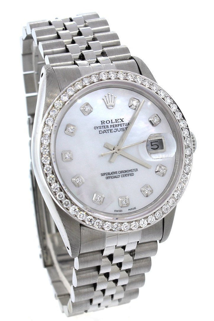 Rolex Custom Datejust 36 Mother Of Pearl Diamond Dial Bezel Mens Watch Watches