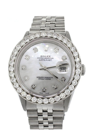 Rolex Custom Datejust 36 Mother Of Pearl Diamond Dial Bezel Mens Watch / None Watches