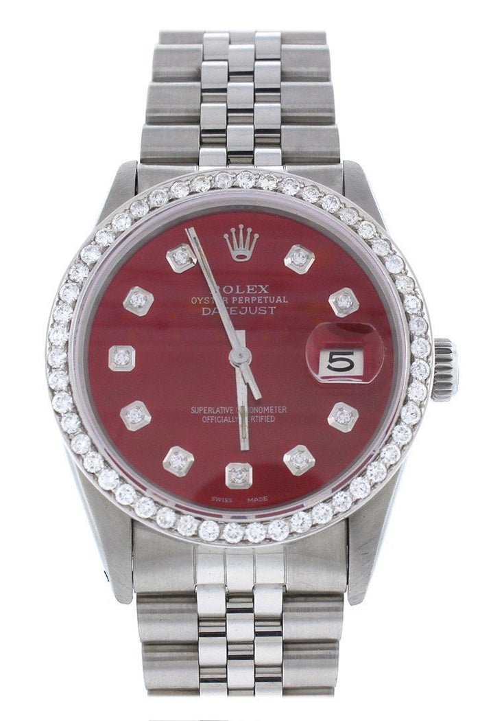 Rolex Custom Datejust 36 Red Diamond Dial Diamond Bezel Men's Watch