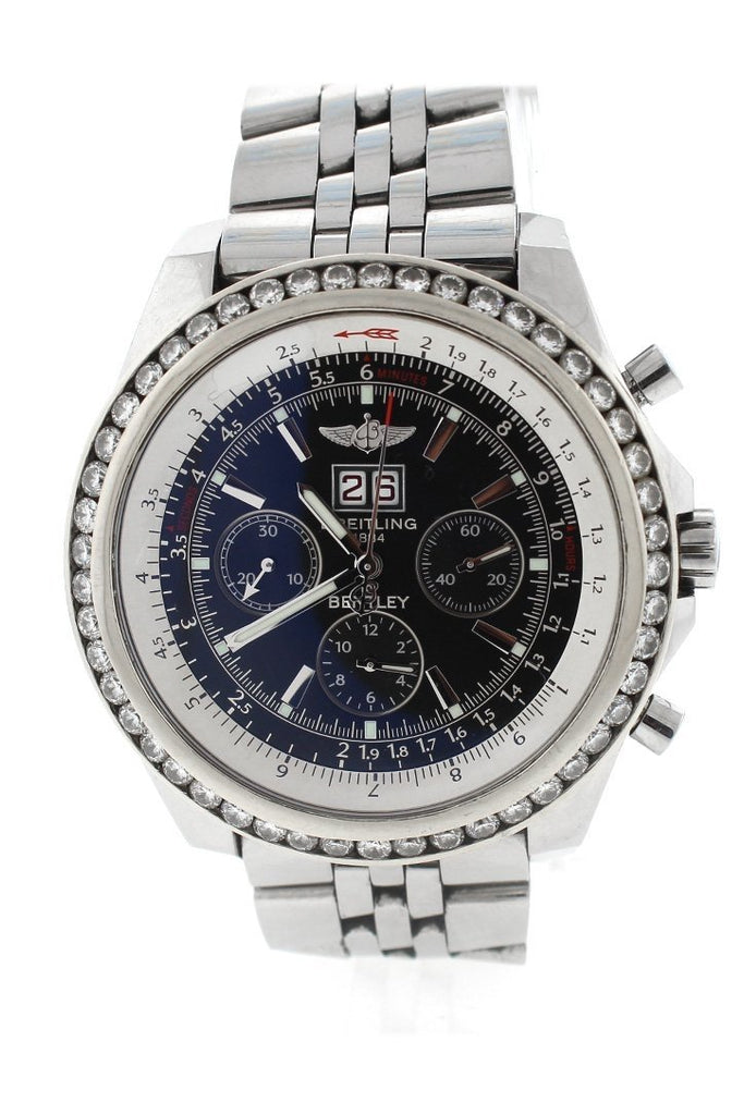 Breitling Custom Diamond Bezel Bentley 6.75 Mens Watch A4436212-B728Ss Black / None Watches