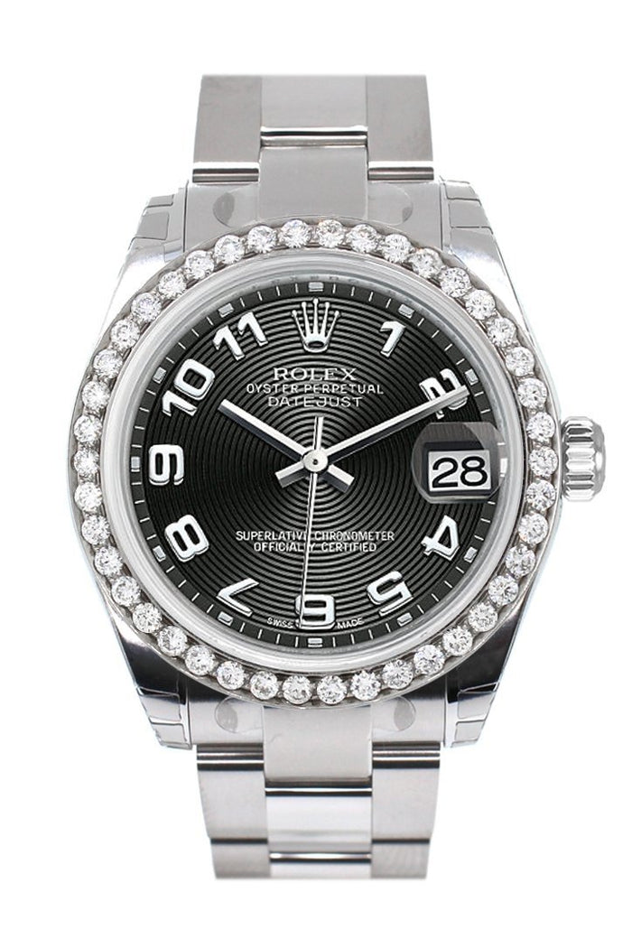 Rolex Custom Diamond Bezel Datejust 31 Black Concentric Dial Oyster Ladies Watch 178240