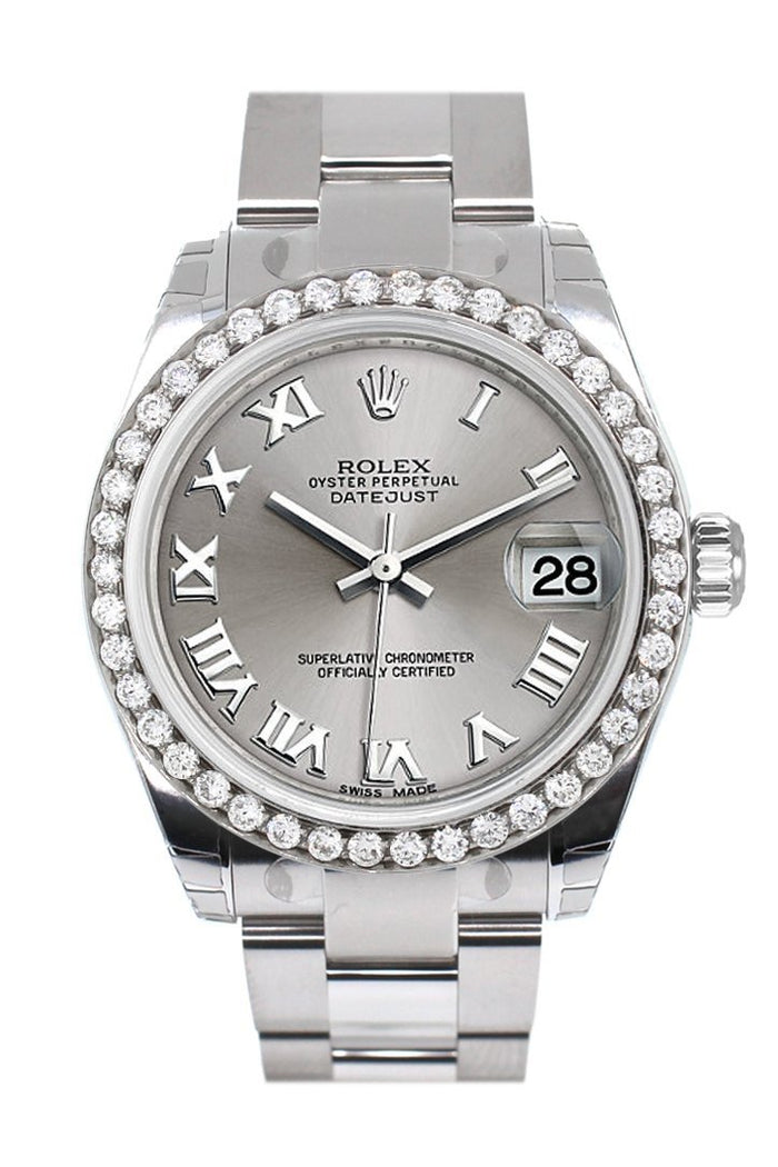 Rolex Custom Diamond Bezel Datejust 31 Rhodium Dial Oyster Ladies Watch 178240