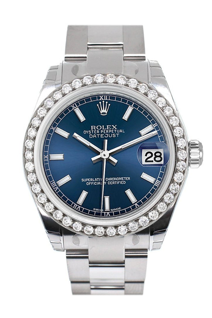 Rolex Custom Diamond Bezel Datejust 31 Blue Dial Oyster Ladies Watch 178240