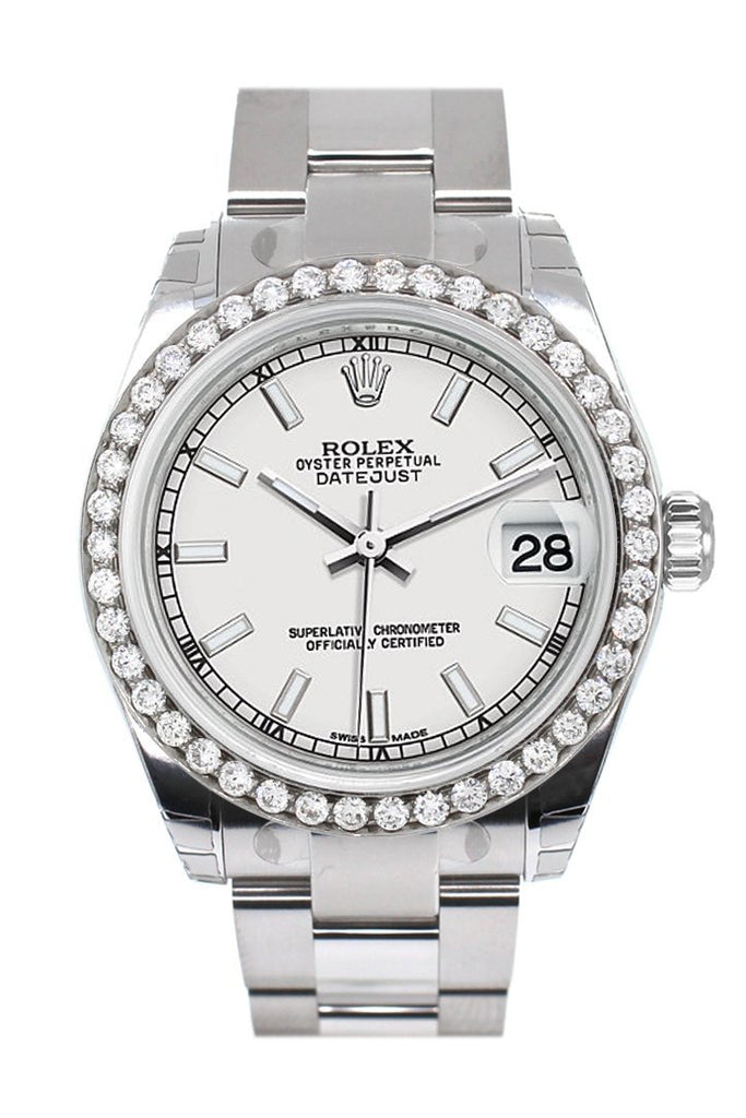 Rolex Custom Diamond Bezel Datejust 31 White Dial Oyster Ladies Watch 178240 Blue / Si None