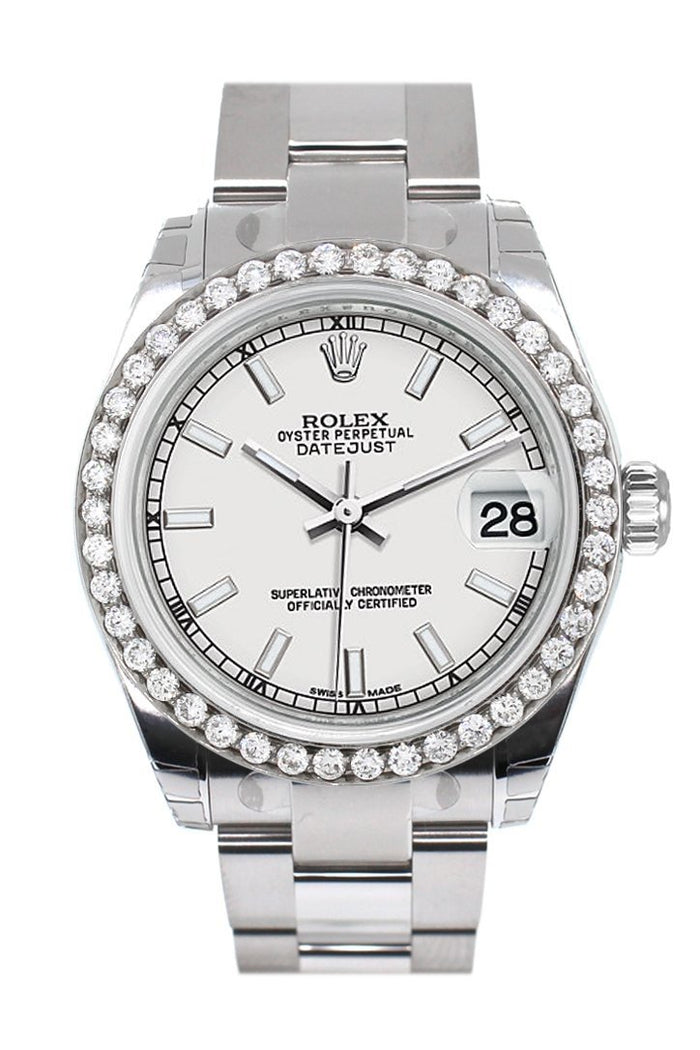 Rolex Custom Diamond Bezel Datejust 31 White Dial Oyster Ladies Watch 178240