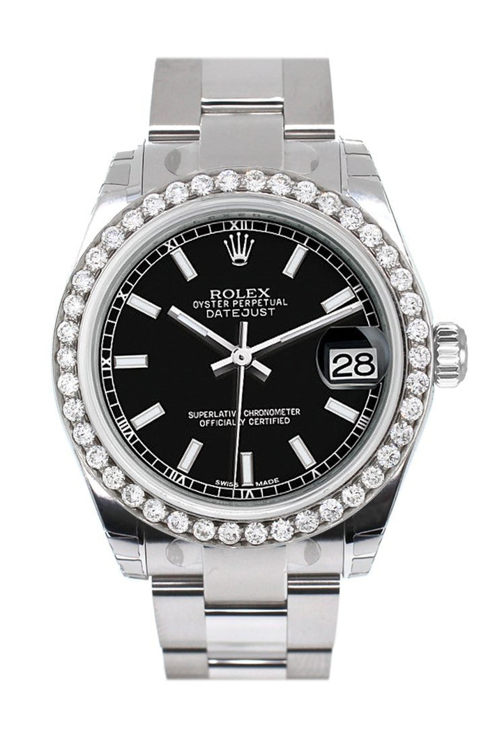 Rolex Custom Diamond Bezel Datejust 31 Black Dial Oyster Ladies Watch 178240