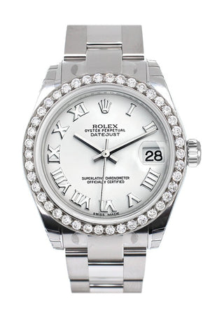 Rolex Custom Diamond Bezel Datejust 31 White Roman Dial Oyster Ladies Watch 178240 / Si None