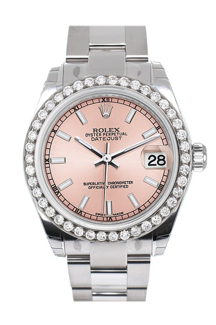 Rolex Custom Diamond Bezel Datejust 31 Pink Dial Oyster Ladies Watch 178240