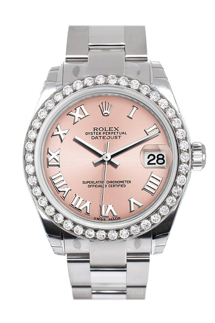 Rolex Custom Diamond Bezel Datejust 31 Pink Roman Dial Oyster Ladies Watch 178240