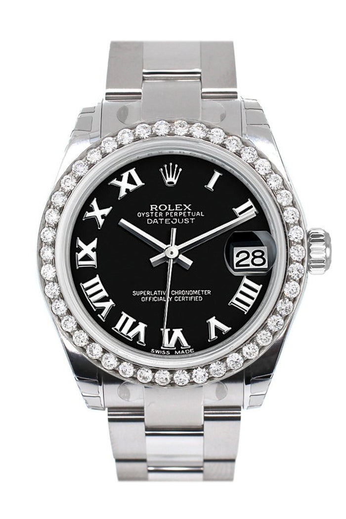 Rolex Custom Diamond Bezel Datejust 31 Black Roman Dial Oyster Ladies Watch 178240