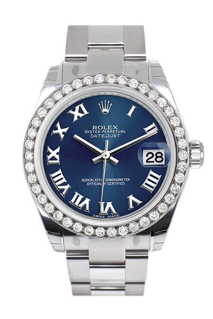 Rolex Custom Diamond Bezel Datejust 31 Blue Roman Dial Oyster Ladies Watch 178240
