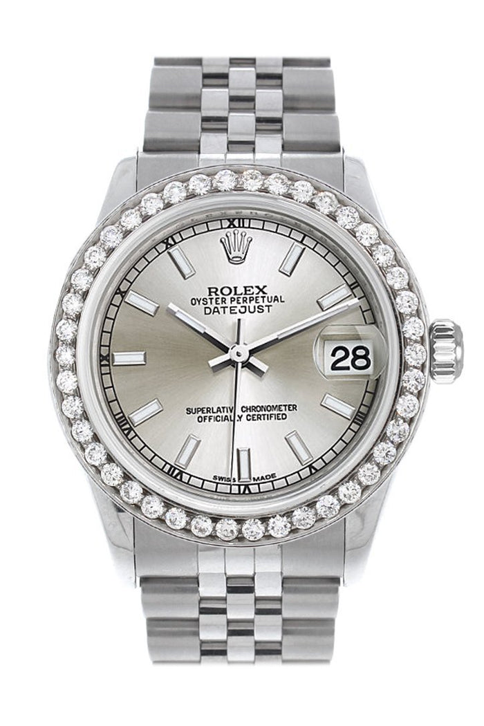 Rolex Custom Diamond Bezel Datejust 31 Silver Dial Jubilee Ladies Watch 178240