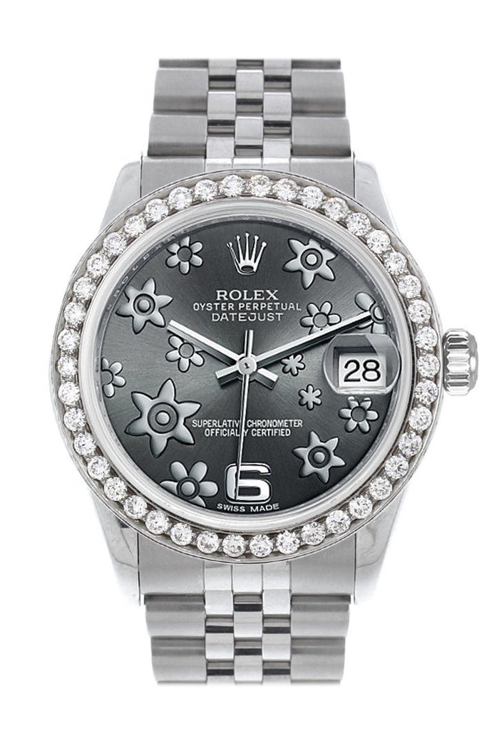 Rolex Custom Diamond Bezel Datejust 31 Dark Rhodium Raised Floral motif Dial Jubilee Ladies Watch 178240