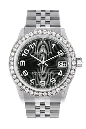 Rolex Custom Diamond Bezel Datejust 31 Black Concentric Dial Jubilee Ladies Watch 178240 / Si None