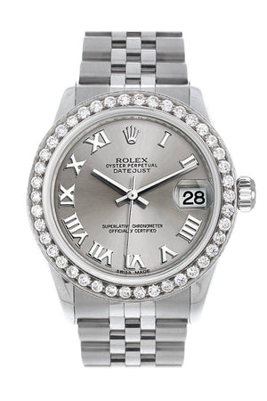 Rolex Custom Diamond Bezel Datejust 31 Rhodium Dial Jubilee Ladies Watch 178240 / Si None