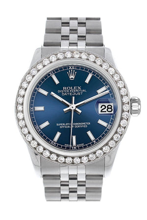 Rolex Custom Diamond Bezel Datejust 31 Blue Dial Jubilee Ladies Watch 178240 / Si None Watches