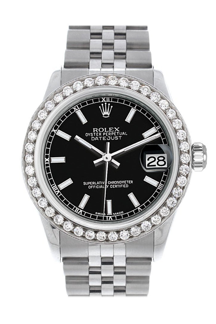 Rolex Custom Diamond Bezel Datejust 31 Black Dial Jubilee Ladies Watch 178240