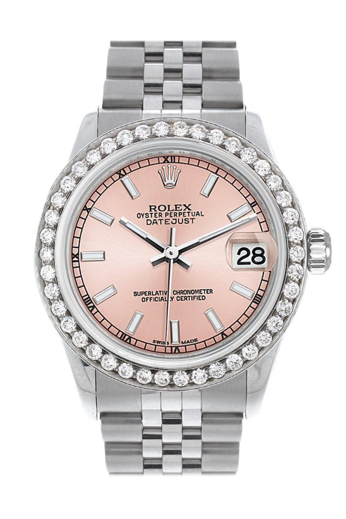 Rolex Custom Diamond Bezel Datejust 31 Pink Dial Jubilee Ladies Watch 178240
