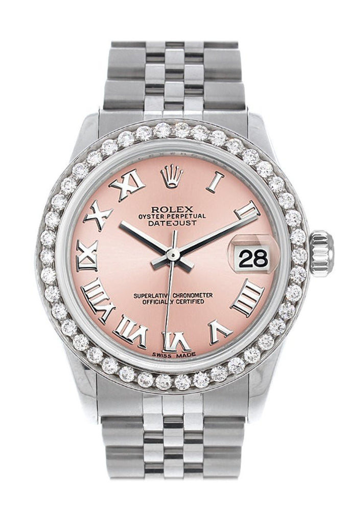 Rolex Custom Diamond Bezel Datejust 31 Pink Roman Dial Jubilee Ladies Watch 178240 / Si None