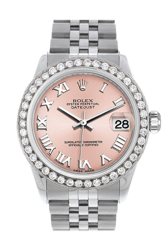 Rolex Custom Diamond Bezel Datejust 31 Pink Roman Dial Jubilee Ladies Watch 178240