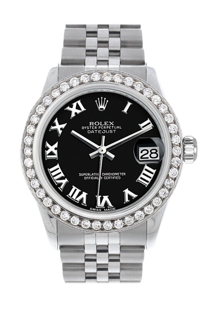 Rolex Custom Diamond Bezel Datejust 31 Black Roman Dial Jubilee Ladies Watch 178240