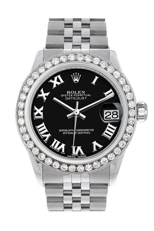 Rolex Custom Diamond Bezel Datejust 31 Black Roman Dial Jubilee Ladies Watch 178240 / Si None