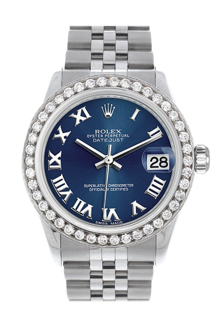 Rolex Custom Diamond Bezel Datejust 31 Blue Roman Dial Jubilee Ladies Watch 178240