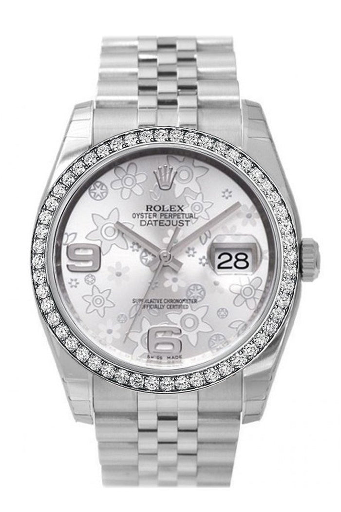 Custom Diamond Bezel Rolex Datejust 36 Silver Floral Motif 2 Arab Dial Stainless Steel Jubilee Men's Watch 116200