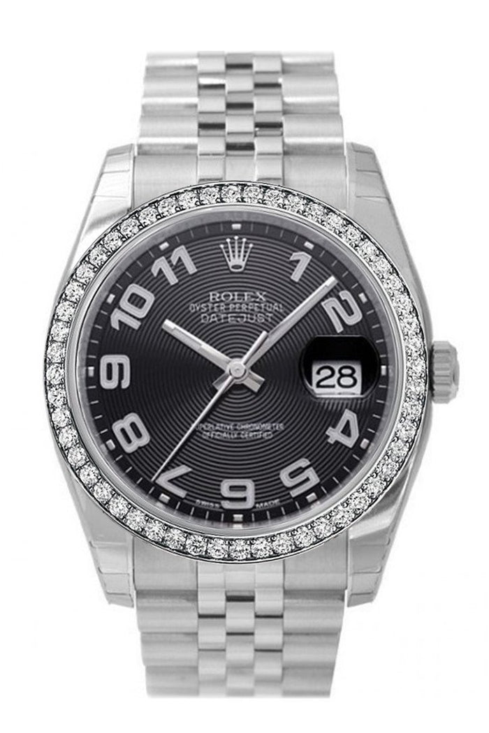 Custom Diamond Bezel Rolex Datejust 36 Black Concentric Dial Stainless Steel Jubilee Men's Watch 116200