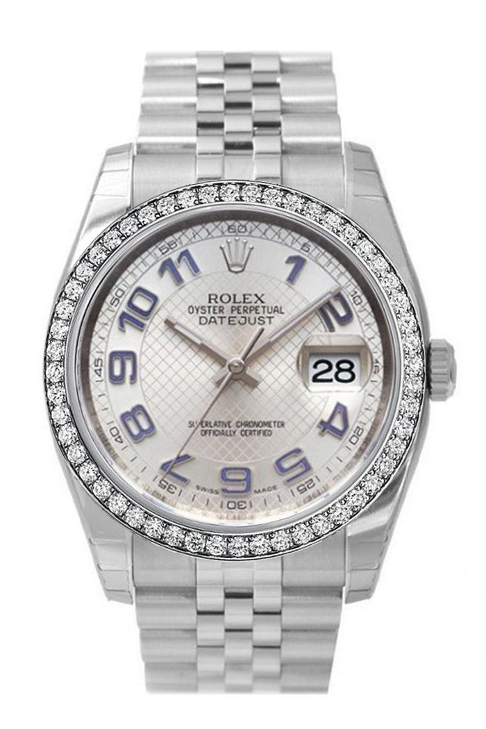 Custom Diamond Bezel Rolex Datejust 36 Silver Dial Stainless Steel Jubilee Men's Watch 116200