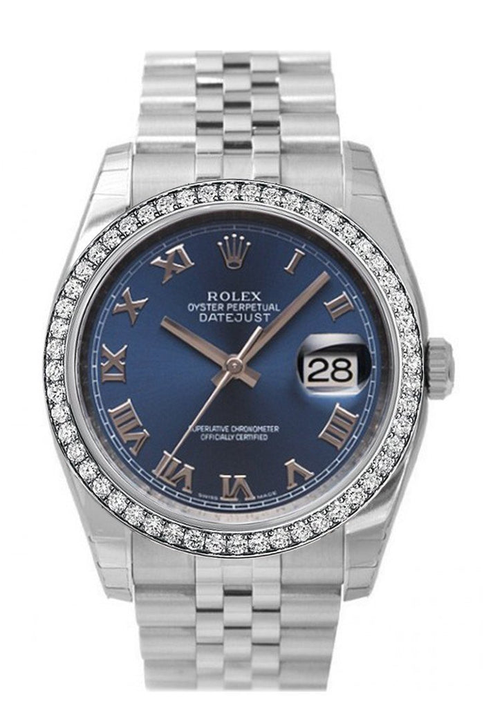 Custom Rolex Datejust 36 Blue Roman Dial Stainless Steel Jubilee Men's Watch 116200