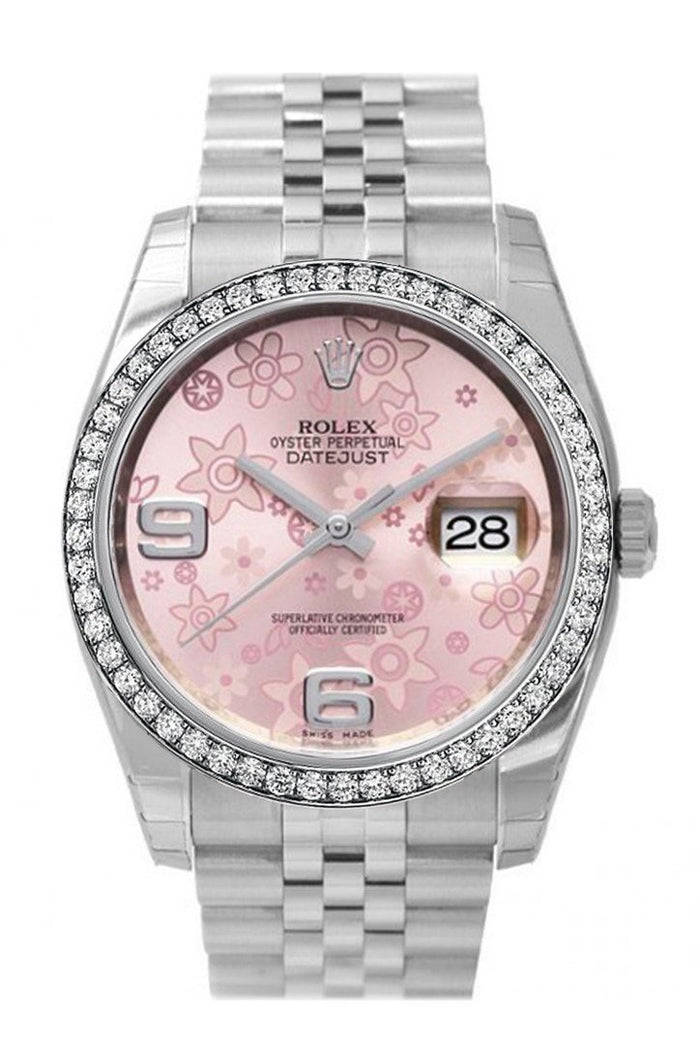Custom Diamond Bezel Rolex Datejust 36 Pink Floral Dial Stainless Steel Jubilee Ladies Watch 116200