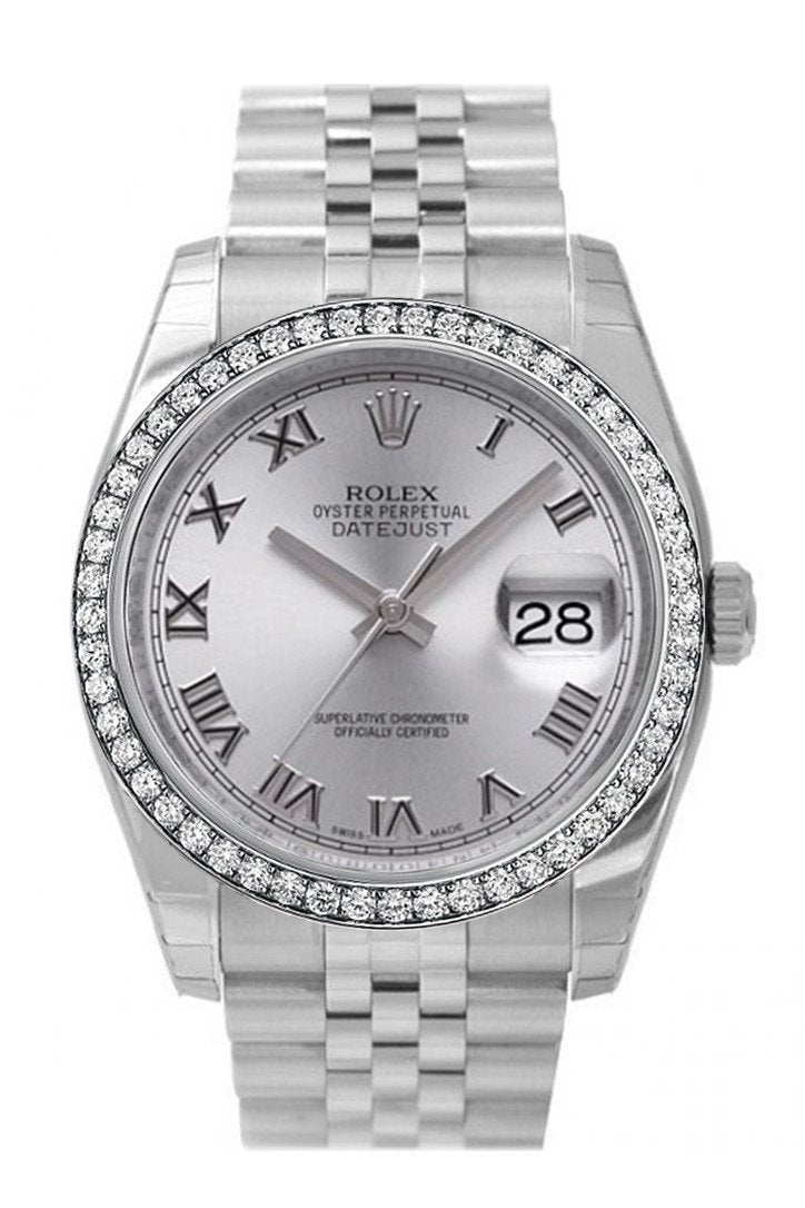 Custom Diamond Bezel Rolex Datejust 36 Rhodium Roman Dial Stainless Steel Jubilee Mens Watch 116200