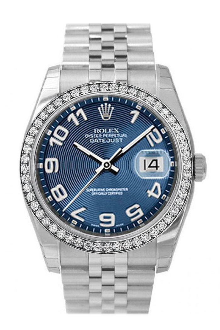 Custom Diamond Bezel Rolex Datejust 36 Blue Concentric Dial Stainless Steel Jubilee Men's Watch 116200