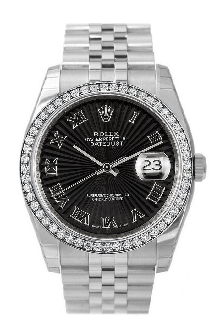Custom Diamond Bezel Rolex Datejust 36 Black Sunbeam Dial Stainless Steel Jubilee Men's Watch 116200