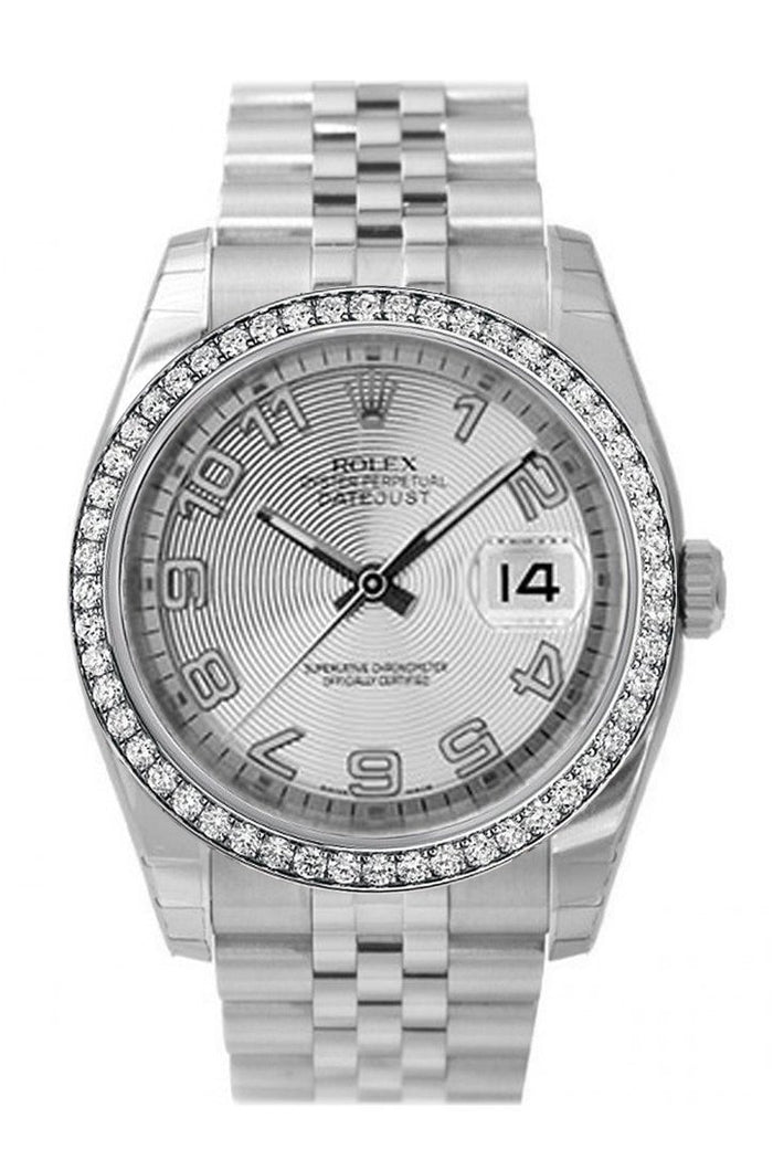 Custom Diamond Bezel Rolex Datejust 36 Silver Concentric Dial Stainless Steel Jubilee Men's Watch 116200