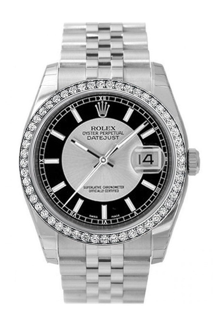 Custom Diamond Bezel Rolex Datejust 36 Silver Black Dial Stainless Steel Jubilee Men's Watch 116200