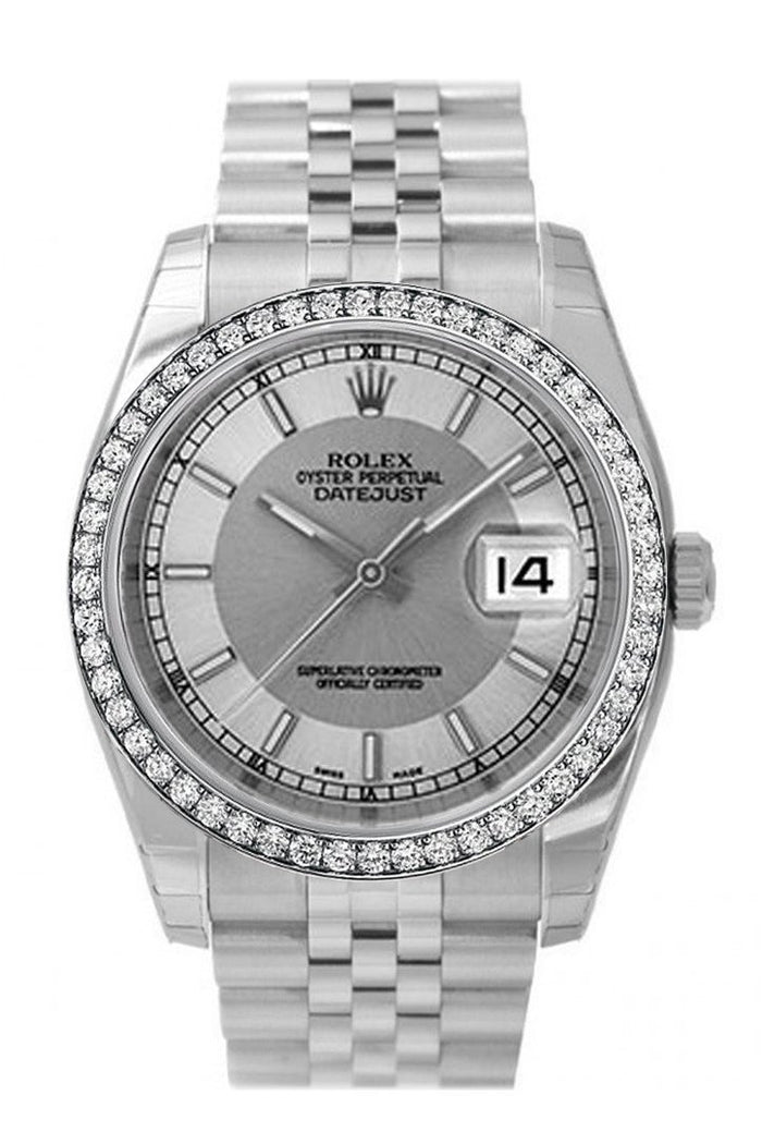 Custom Diamond Bezel Rolex Datejust 36 Steel Silver Dial Stainless Steel Jubilee Men's Watch 116200