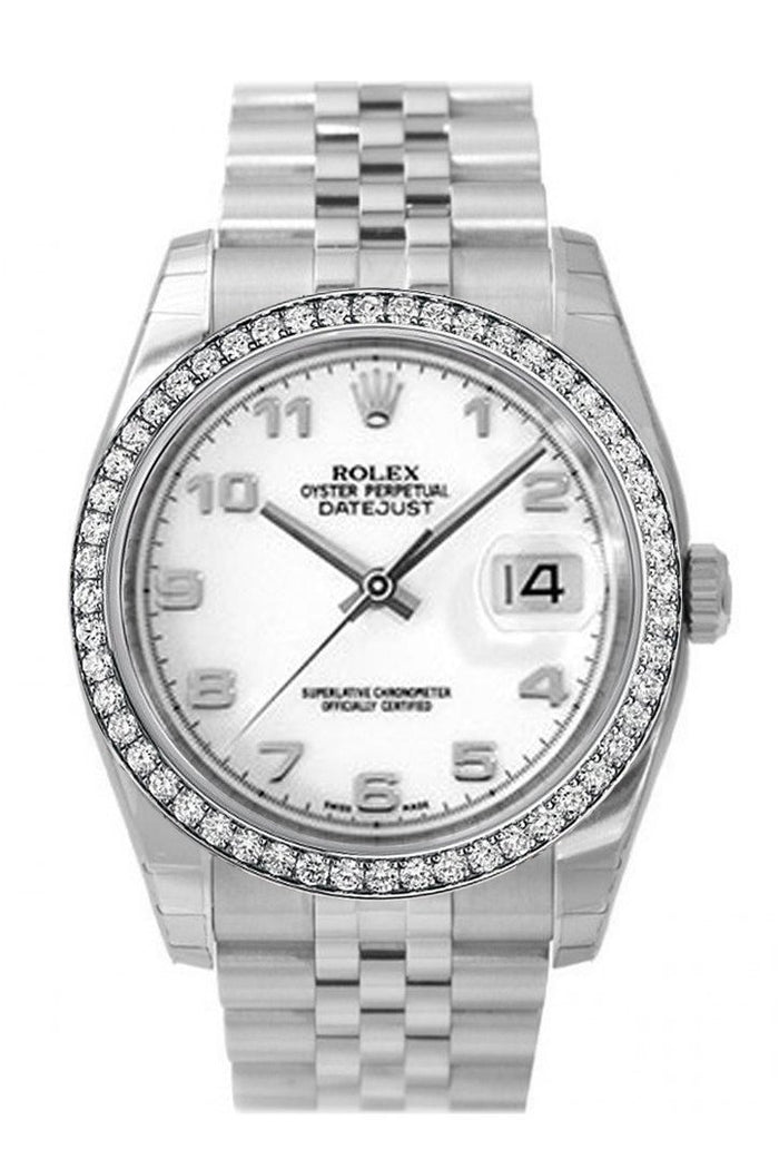 Custom Diamond Bezel Rolex Datejust 36 White Arab Dial Stainless Steel Jubilee Men's Watch 116200