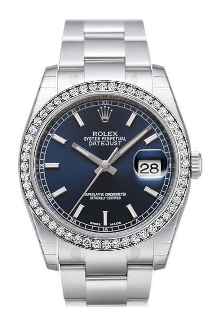 Custom Diamond Bezel Rolex Datejust 36 Black Roman Dial Stainless Steel Jubilee Bracelet Men's Watch 116200