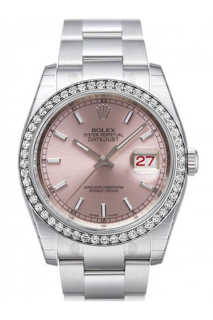 Custom Diamond Bezel Rolex Datejust 36 Pink Dial Stainless Steel Jubilee Bracelet Men's Watch 116200