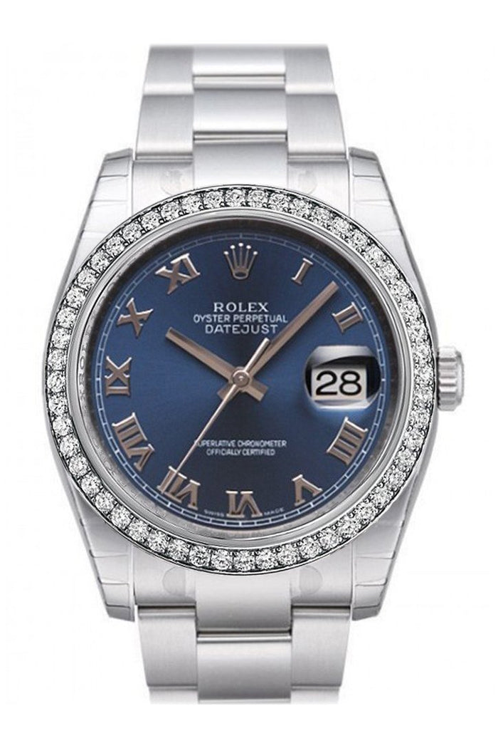 Custom Diamond Bezel Rolex Datejust 36 Blue Roman Dial Stainless Steel Oyster Watch 116200
