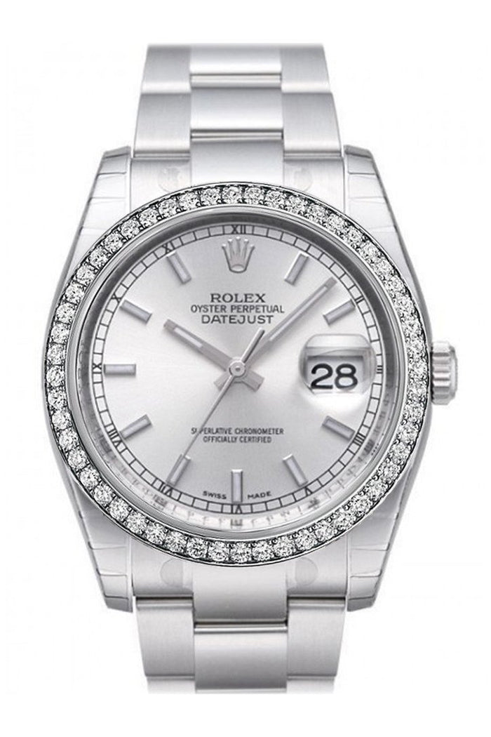 Custom Diamond Bezel Rolex Datejust 36 Silver Index Dial Stainless Steel Jubilee Bracelet Men's Watch 116200