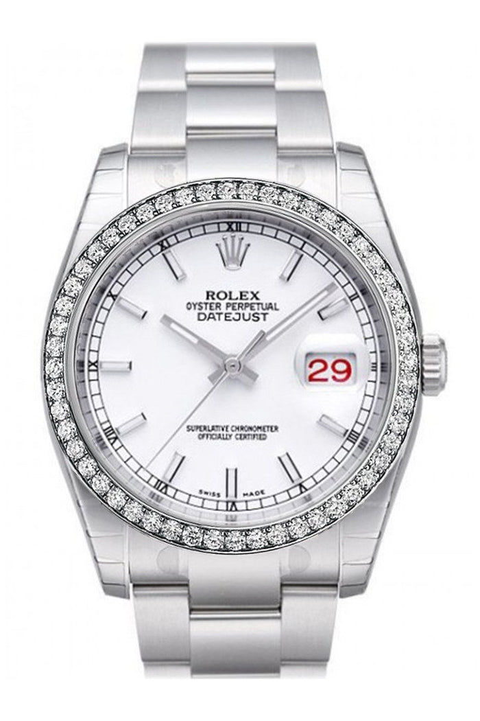 Custom Diamond Bezel Rolex Datejust 36 White Index Dial Stainless Steel Jubilee Bracelet Men's Watch 116200