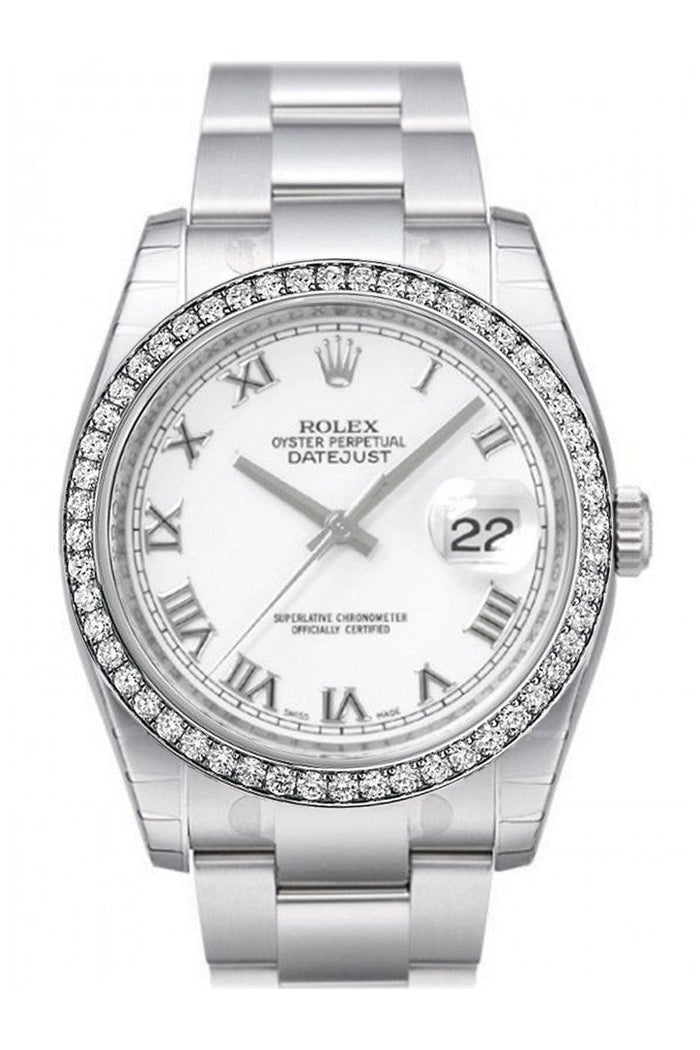 Custom Diamond Bezel Rolex Datejust 36 White Roman Dial Stainless Steel Jubilee Men's Watch 116200
