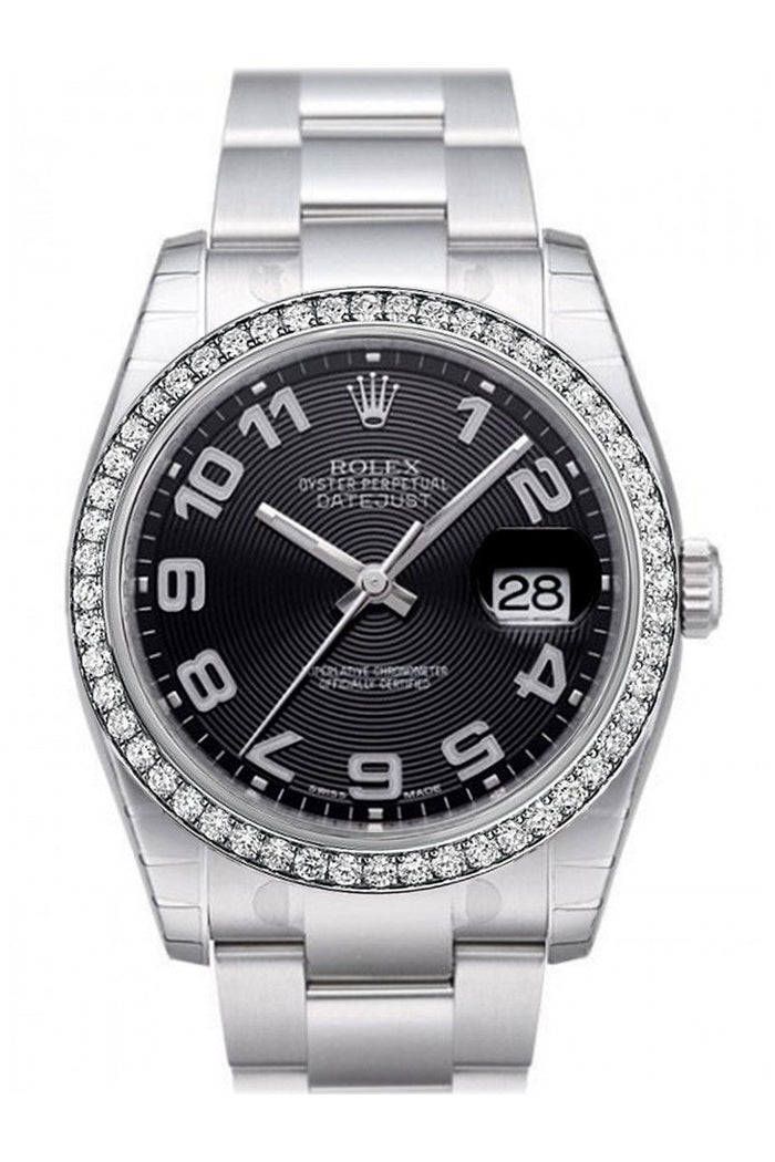 Custom Diamond Bezel Rolex Datejust 36 Black Concentric Circle Dial Stainless Steel Oyster  Men's Watch 116200