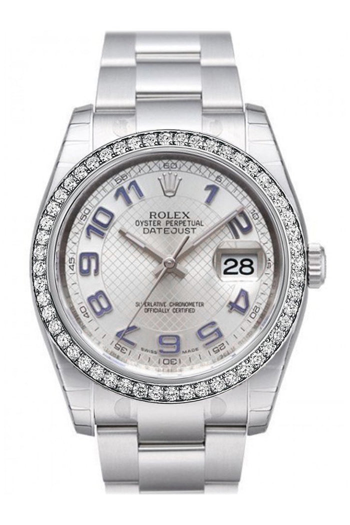 Custom Diamond Bezel Rolex Datejust 36 Silver Dial Stainless Steel Oyster  Men's Watch 116200