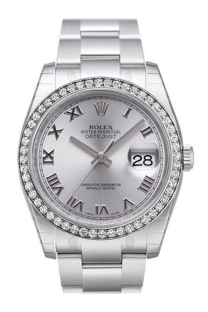 Custom Diamond Bezel Rolex Datejust 36 Rhodium Dial Stainless Steel Jubilee Mens Watch 116200