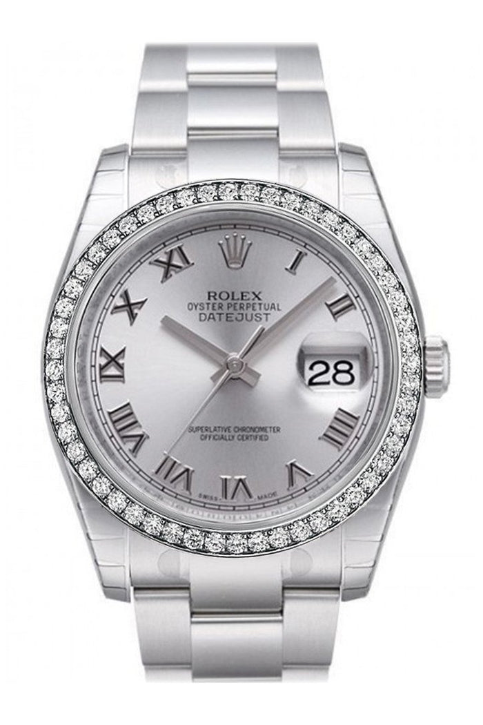 Custom Diamond Bezel Rolex Datejust 36 Rhodium Dial Stainless Steel Jubilee Men's Watch 116200